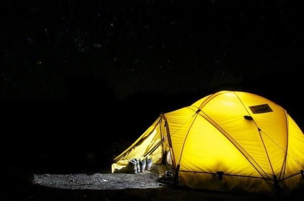 big wild sleep out tent in garden