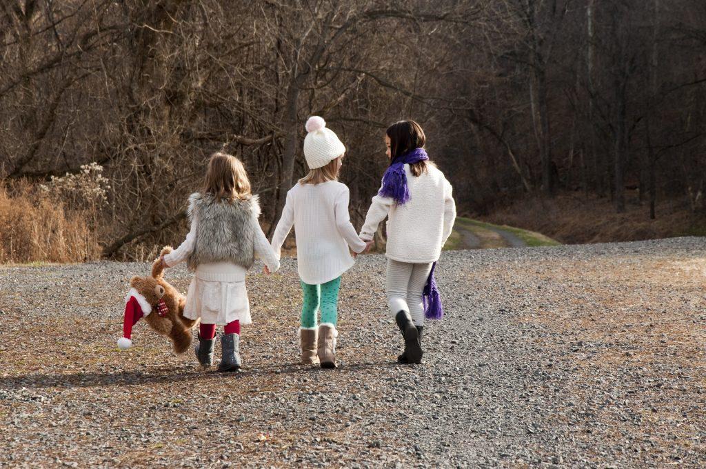 kids outside christmas