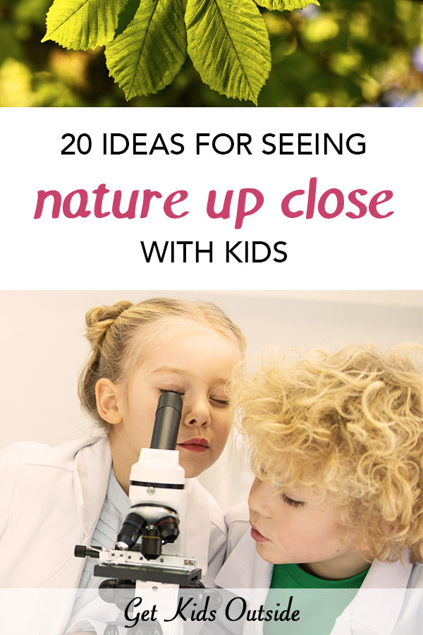 Ideas for nature items you can look up close with children. From using a regular or pocket microscope add a new layer of fun to your nature studies to learn more about biology and the natural world. All kids love nature and love seeing new details. Kids in nature   Kids science ideas   nature activities for children   microscope activities for kids