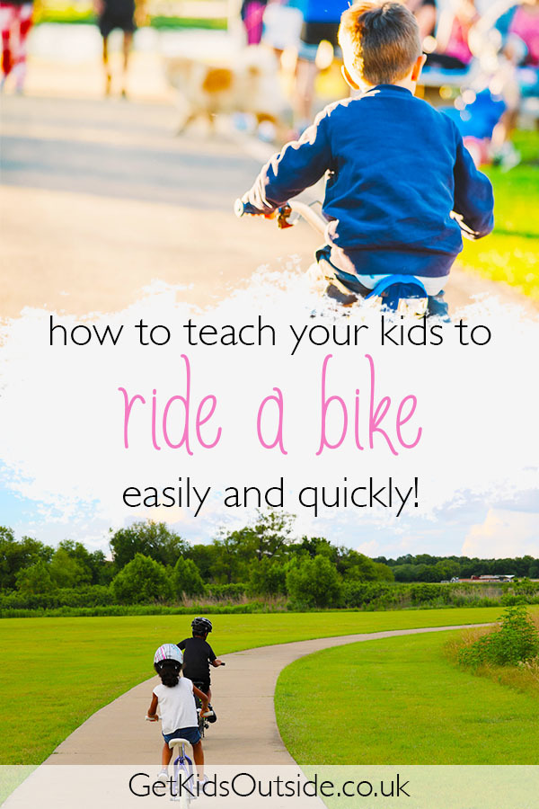 Tips for teaching kids to ride a bike.   Fun tips and tricks to make learning this valuable skill easy and help them to play outside more on their bikes.  Children love riding bikes so this is essential!