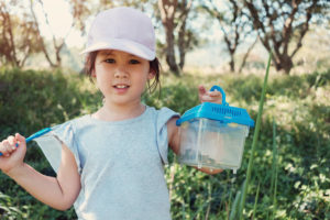 girl catching bugs, insects and butterflies with a tub and a net